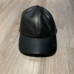 Faux leather baseball cap from Aritzia